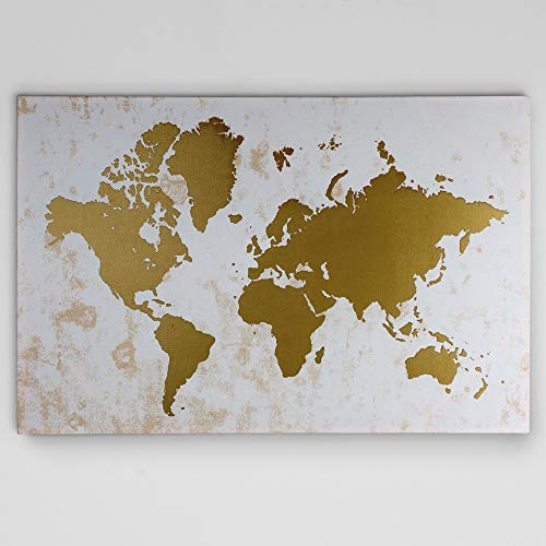 Renditions Gallery Champagne Gold Map Gallery Wrapped Canvas Wall Art, 24x32 (Gold Canvas Map)