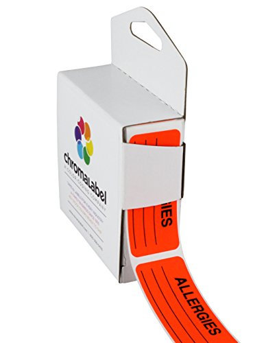 ChromaLabel 1 x 2-1/4 Inch Allergy Labels | 250/Dispenser Box (Fluorescent Red-Orange |