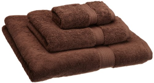 Superior 900 GSM Luxury Bathroom 3-Piece Towel Set, Made Long-Staple Combed Cotton, Hotel & Spa Quality Washcloth, Hand Towel, and Bath Towel - Chocolate