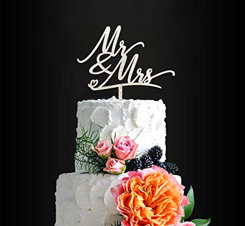 Mr & Mrs Cake Topper, Silver Glitter Wedding - Anniversary - Bridal Shower Cake Decor, Rustic Chic Bride and Groom Cake Topper