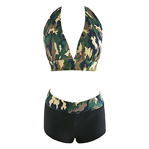 Tueenhuge Retro Vintage Elegant Bikini Two Piece Swimsuits High Waisted Swimwear (M (US 6), camouflage02) (Vintage Iron 90 Vi)