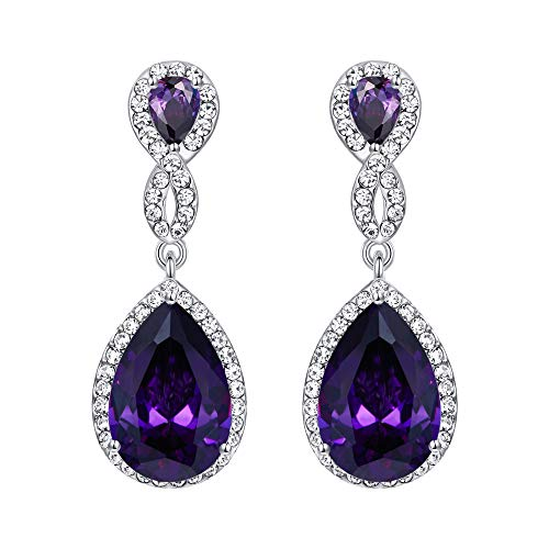 EVER FAITH Silver-Tone Austrian Crystal Zircon Wedding 8-Shaped Pierced Dangle Earrings Tanzanite Color