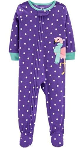 Carter's Girls' Zippered Fleece One-Piece Footie Pajamas (Purple/Flamingo, 4T)