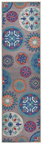 - Circles and Flowers Runner Rug Slip Skid Resistant Rubber Backing Anti Bacterial Area Rug (Multi Grey, 1'11