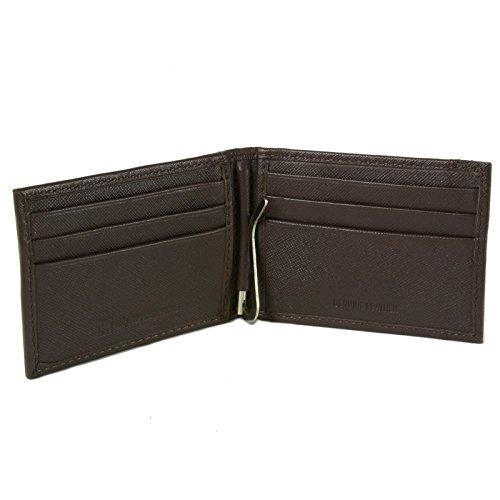 alpine swiss Men's Genuine Leather Spring Loaded Bifold Money Clip Wallet, Crosshatch Brown, One ()