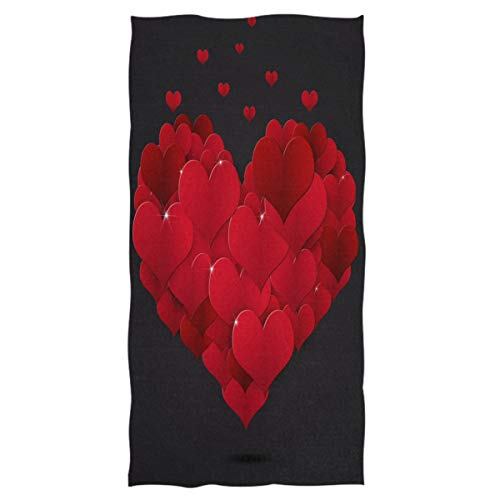 (Wamika Extra Large Hand Towels Holiday Valentine Red Hearts Love Ultra Soft Highly Absorbent Bath Towel Multipurpose Bathroom Towel for Hand,Face,Gym and Spa (16x30 in) Valentine's Day Decorations)