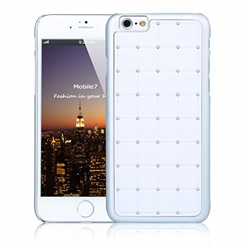G4GADGET® Apple Iphone 6 LUXURY CRYSTAL Cross Diamond White Case Bling Hard Cover with White Frame For Apple Iphone 6