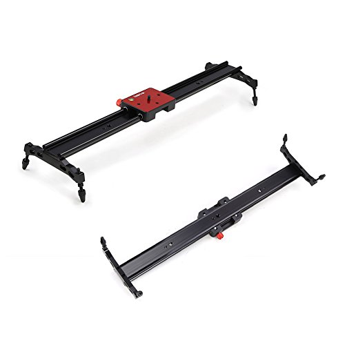 Koolertron Aluminum Alloy Video Track Slider in Video Shooting Rail Stabilization System With 1/4'' and 3/8'' Screw for Canon Nikon Sony DSLR Cameras Camcorders (60cm / 24'' Length, Red) by Koolertron