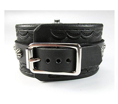 Watch Cuff, Wristwatch, Leather Cuff Watch, Men's Watch, Steampunk Watch, Black Watch, Leather Watch, Skeleton Watch, Vilon Leather - 13S-1 by Vilon Leather