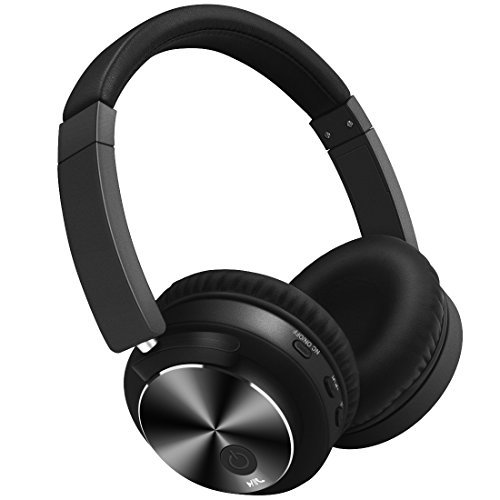 Active Noise Cancelling Headphones Bluetooth Wireless Headsets Built in Microphone HiFi Stereo Over Ear Portable Foldable Comfortable Leather Earbuds for Travel Home Office … (black)