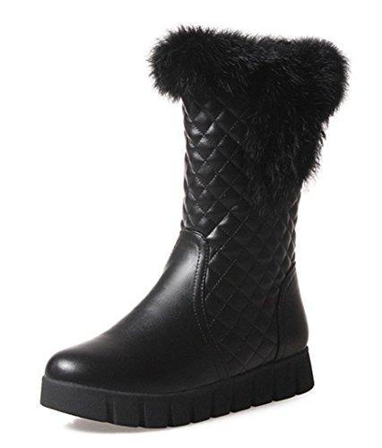 Aisun Womens Warm Antiskid Round Toe Platform Slip On Flat Faux Fur Lining Short Winter Snow Boots Black IkUYExqlG