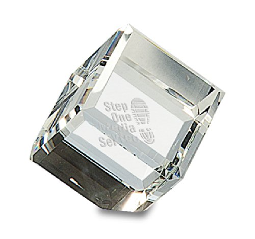Beveled Edge Crystal Award - Executive Gift Shoppe | Personalized Cube Paperweight | Solid Crystal Glass | Free Custom Engraving | Beveled Edges | Great for Office, Desk & Home Decor | Flattened Corner for Unique Propped Position