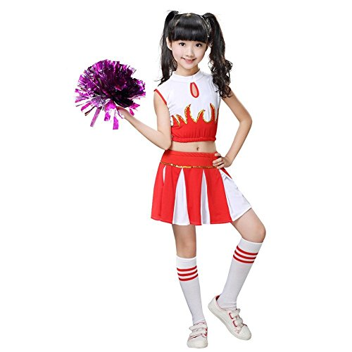 Girls Cheerleader Costume School Child Cheer Costume Outfit Carnival Party Halloween Cosplay with Match Pom poms (120/5-6 Years, Red) -