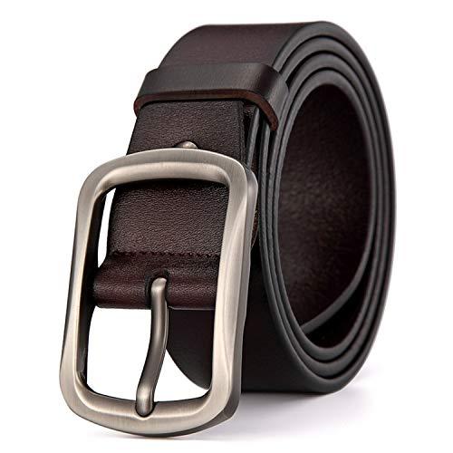 (Carolyn Jones Genuine Leather Belt Men Strap Male Centre Bar Pin Buckle Belts For Men Buckle Vintage)