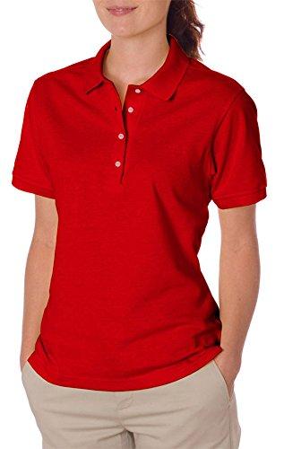 Jerzees Ladies' SpotShield Jersey Polo Shirt, True Red, Medium