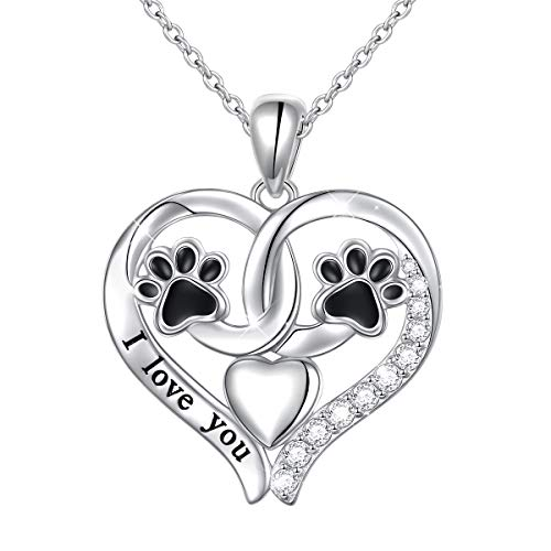18 Sterling Silver Heart U Back Cat Lover Paw Necklace