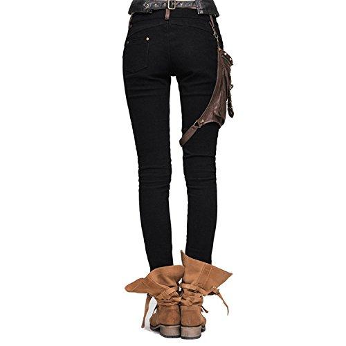 Devil Fashion Frauen Stitching Leder Hose Slim Fit Solid Farbe Leggings mit einer Tasche