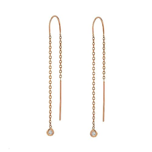 TousiAttar Diamond Dangle Earrings -14k Rose Gold - Cute Drop Earring Gift Jewelry for Women and Girls Every - Set Diamond Dangle Earrings Bezel