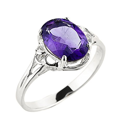 White Gold Genuine Amethyst Ring - Solid 10k White Gold February Birthstone Genuine Amethyst Gemstone Ring (Size 7)