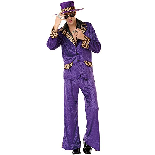 Honey Hustler Men's Halloween Costume 70's & 80's Big Pimpin' Pimp Daddy Suit, Purple, Large