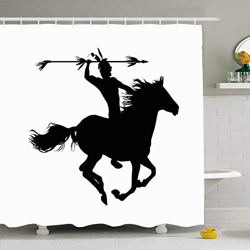 Ahawoso Shower Curtain 60x72 Inches Native American Indian On Horse West Warrior Wild Headdress Clip Design Old Waterproof Polyester Fabric Bathroom Curtains Set with Hooks