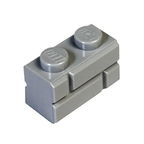 LEGO Parts and Pieces: Light Gray (Medium Stone Grey) 1x2 Masonry Profile Brick x100 - Parts Pieces Legos