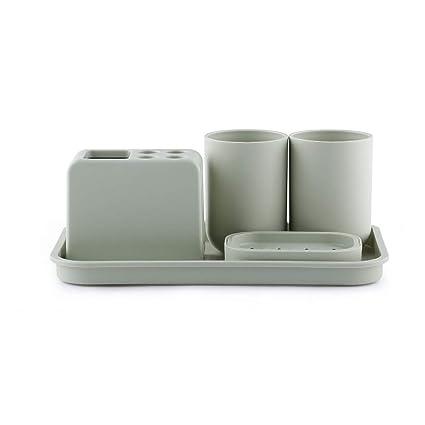 Zhijie Set de Lavado de Baño de Estilo Japonés Cepillo de Dientes Simple Cepillo de Dientes