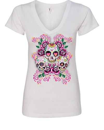 3 Sugar Skulls Women's V-Neck T-Shirt Dia de Los Muertos Roses Day of The Dead White 2XL -