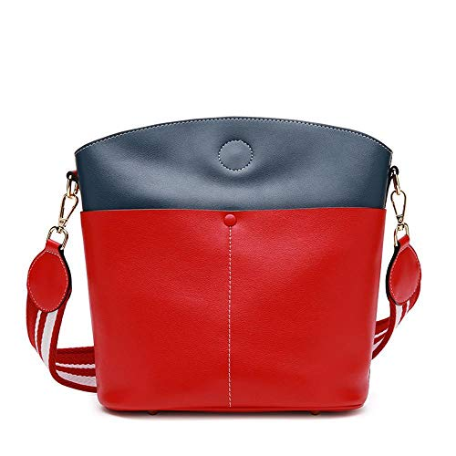 Single Simple Color Bag Pack Leather Shoulder Hongge B Bucket Cross Diagonal Bump Cowhide Leather Bag cwZZzqIYH