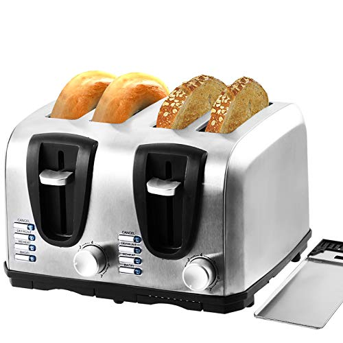 2/4-Slice Extre Wide Slot Toaster,Stainless Steel with Bagel,Cancel,Reheat,Defrost Function,7 Bread Shade Settings and…
