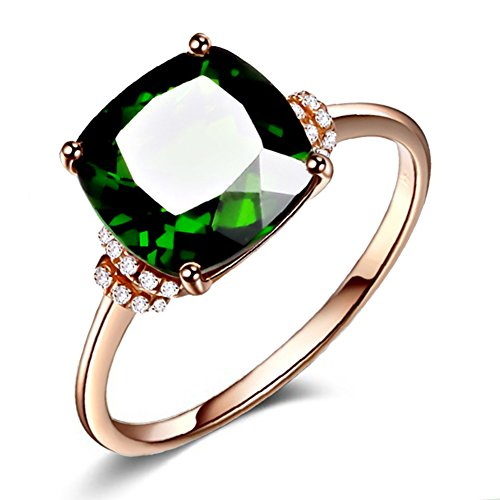 Womens Emerald Ring 14K Rose Gold Ring With Large Square Green Crystal Stone Inlay Diamond Fashion Jewelry Mother's Day Gift Available in Size 6,7,8,9,10 (Rose gold, (Stones Classic Mothers Ring)