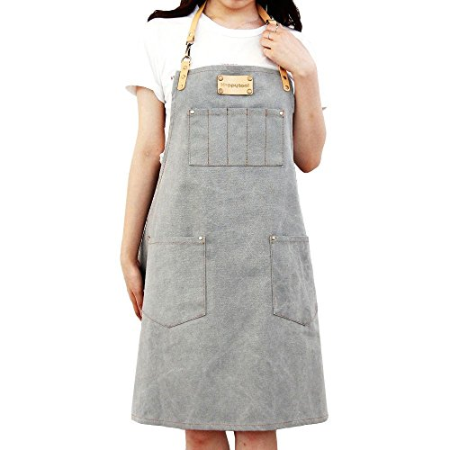 HAPPYTOOL Cotton Denim Shop Apron With 5 pen pockets in chest+Front 2 Pockets & Adjustable Straps (Grey) by HAPPYTOOL