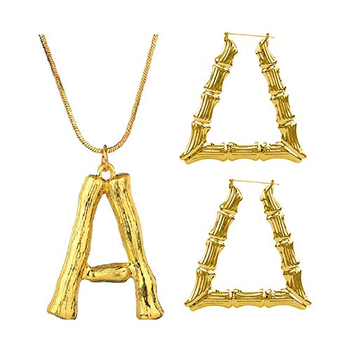 Spiritlele Statement Triangle Bamboo Hoop Earrings 18K Gold DIY A Letter Bamboo Necklace Jewelry Set for Women Girls