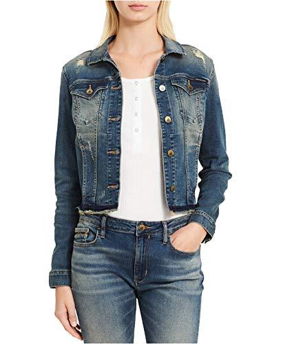 (Calvin Klein Jeans Women's Ripped Denim Trucker Jacket (Tinted Dust,)
