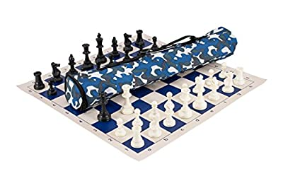 The House of Staunton Quiver Chess Set Combination - Triple Weighted - Blue Camo Bag/Royal Blue Board