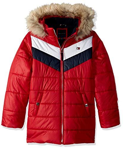 Tommy Hilfiger Big Girls' Long Length Puffer Jacket, Block Scarlet Sage, M8/10 (Jacket For Boys Tommy Hilfiger)
