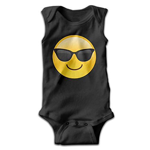 Fillmore-M Newborn Babys Boy's & Girl's Sun Glasses Emoji Sleeveless Bodysuit Baby Onesie For 0-24 Months Black Size 18 - Online Customize Sunglasses