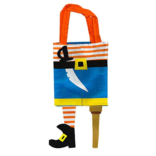 Halloween Trick or Treat Bags Kids Toddler with Carry Straps (Pirate Design)