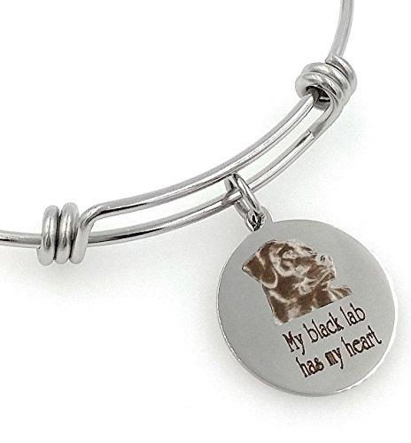 My Black Lab, Labrador Retriever Has My Heart Engraved Expandable Bangle Bracelet