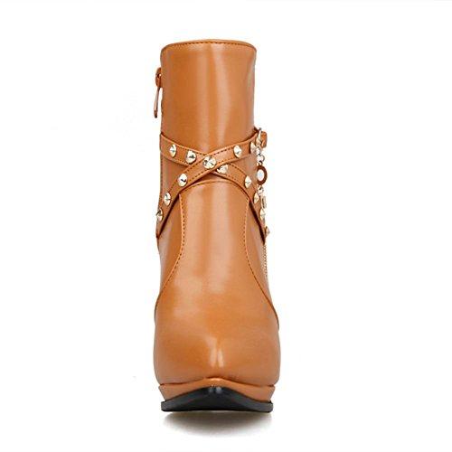 DecoStain Women's Mental Ornamented & Fringe Ankle High Stiletto Booties Brown w2GKXnce0U