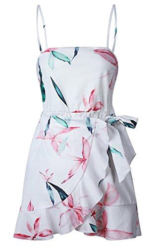 Backless Mini Vestito Con Abito Donna Da Fashionable Casual Abiti Volant Smanicato Vestiti Giorno Fashion Stampa Corti Fogliame Bianca Estivi Completi Da Eleganti Spiaggia TnwzH
