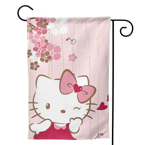 CFECUP Home Decorative Outdoor Flag Smile Hello Kitty Welcome Garden Flag Yard Decorations 12.5