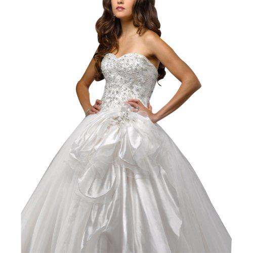 ueber Exquisite Elfenbein Satin Mieder GEORGE Net Perlen Ballkleid BRIDE B5Pqw1