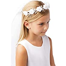 Girls' White Pearl Rhinestone Center Floral Crown First Communion Flower Girl Head Wreath with Veil