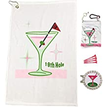 Giggle Golf Par 3-19th Hole Towel, Tee Bag and Bling Ball Marker with Hat Clip – Perfect Golf Gift for Women