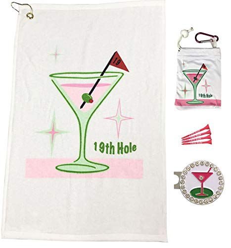 Giggle Golf Par 3-19th Hole Towel, Tee Bag and Bling Ball Marker with Hat Clip – Perfect Golf Gift for Women -