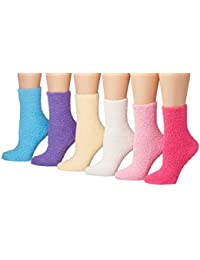 Women's 6-Pairs Patterned & Solid Anti-Skid Soft Fuzzy Crew Socks