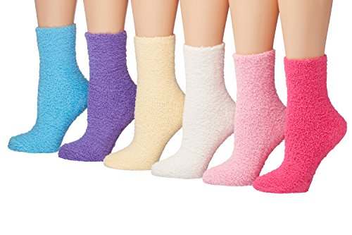 Tipi Toe Women's 6-Pairs Solid Color Premium Soft Warm Microfiber Winter Soft Fuzzy Crew Socks (sock size 9-11) Fits shoe size 6-9, FZ04 (Socks Snuggle)