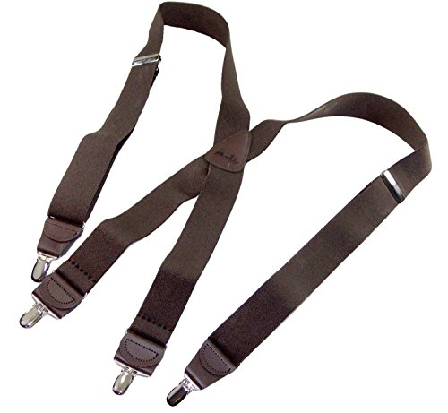 Hold-Up Dark Java Brown X-back Suspenders with Patented No-slip Silver Clips - Dark Brown Slip
