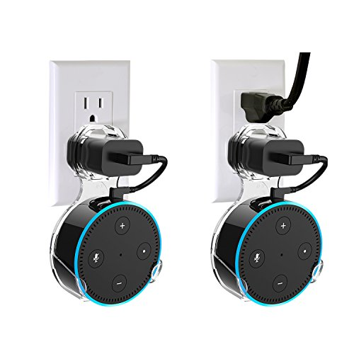 Wall Mount Hanger Holder Stand for Echo Dot 2nd Generation And Some Round Speakers,Without Messy Wires Or Screws,A Space-Saving Solution for Your Smart Home Speakers (Transparent,2-Pack) by GeeLove